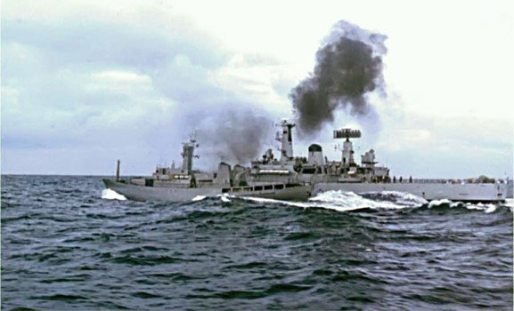 ICGV ODINN clashes with HMS SCYLLA shortly before a ramming incident