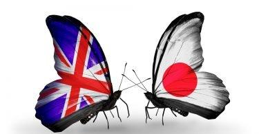 Japan UK flags butterflies