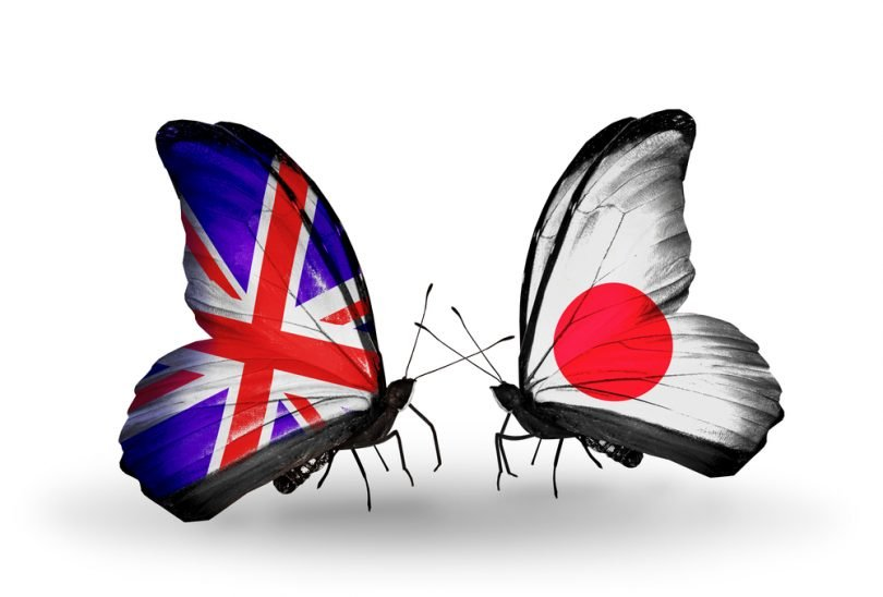 Japan UK flags butterflies